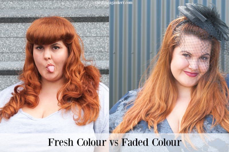 Freshly coloured copper hair vs faded copper hair
