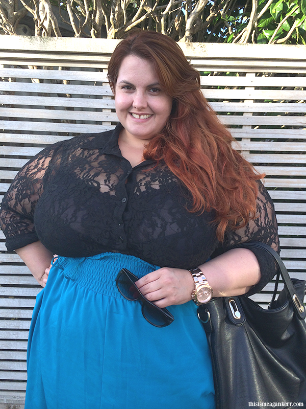 Aussie Curves: Valentine's Day  Meagan Kerr wears Gothic Glamour lace top by Harlow and Wide Belted Skirt by Hope & Harvest