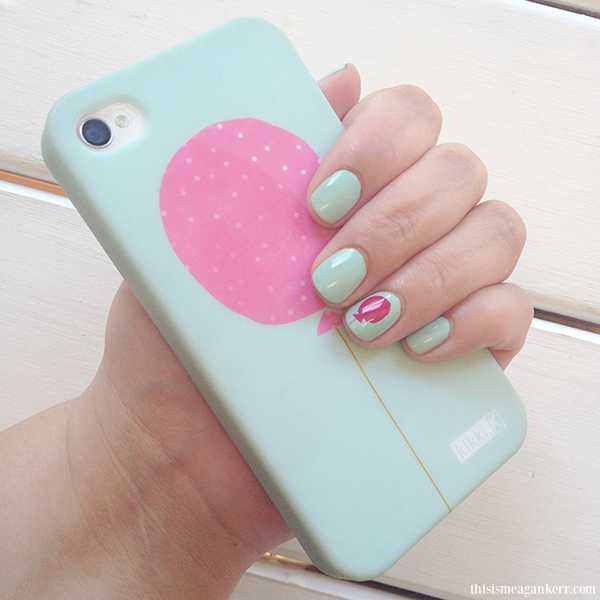 Nailed it mint green nails with pink balloons this is meagan kerr morgan taylor kikkik phone pink balloon mint nail polish prinsesfo Choice Image