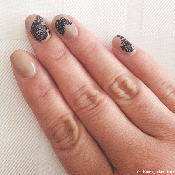 Nude And Black Lace Nails