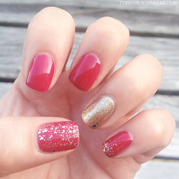 red and gold glitter nails this is meagan kerr