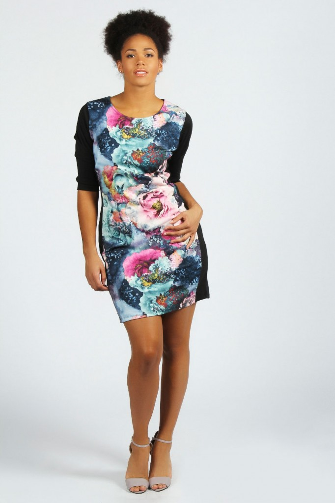 Boohoo Plus Kimmy Floral Illusion Midi Dress plus size fashion