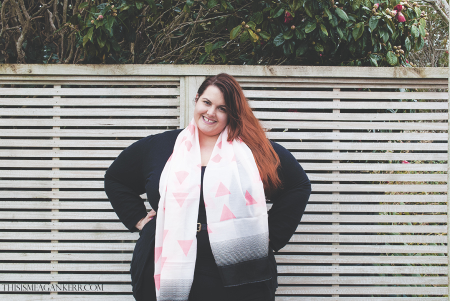 plus size fashion ezibuy scarf spring asos new look black cardigan sara jeggings denim coral garage brogues the warehouse meagan kerr