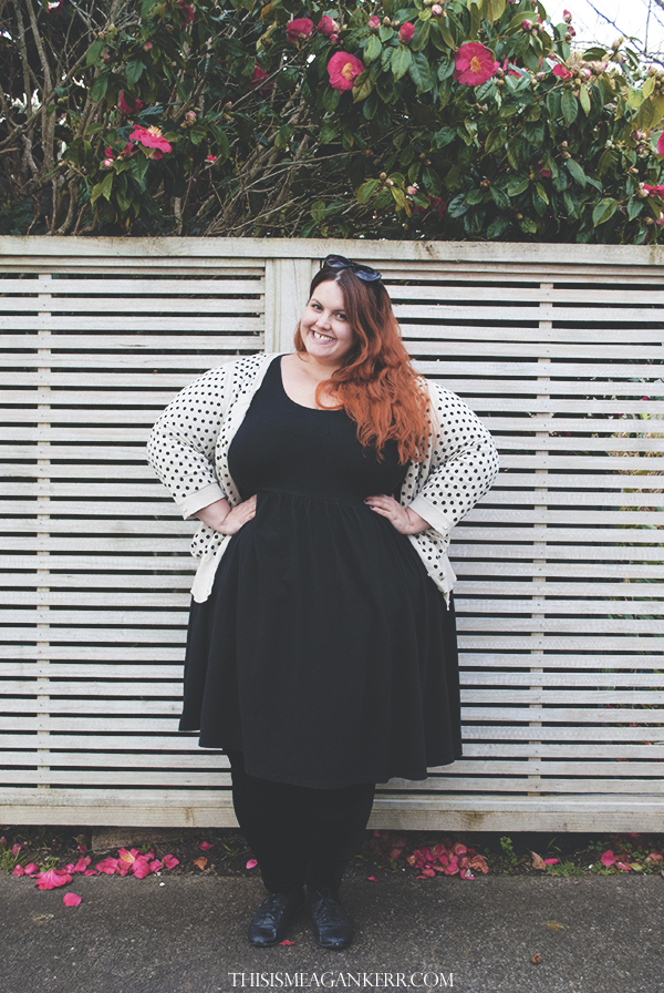 aussie curves plus size fashion everyday style 17 sundays black dress ezibuy sara polka dot cardigan chubby cartwheels velvet leggings max sunglasses the warehouse garage brogues fatshion meagan kerr