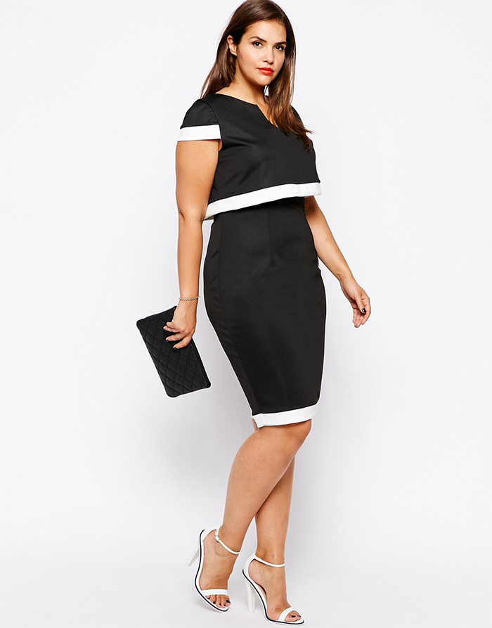 Asos Lipstick Boutique Plus 2 In 1 Cape Pencil Dress Monochrome Size Office Attire Officewear