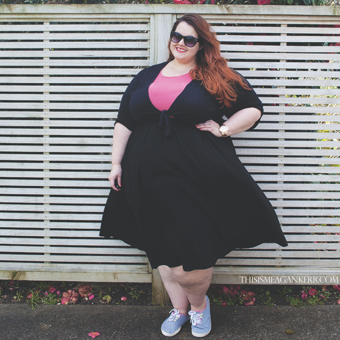 Aussie Curves Favourite Piece Meagan Kerr black skater skirt knee length kmart now coral pink peplum top yours clothing bolero shrug tie jacket grey sneakers rave plus size fashion
