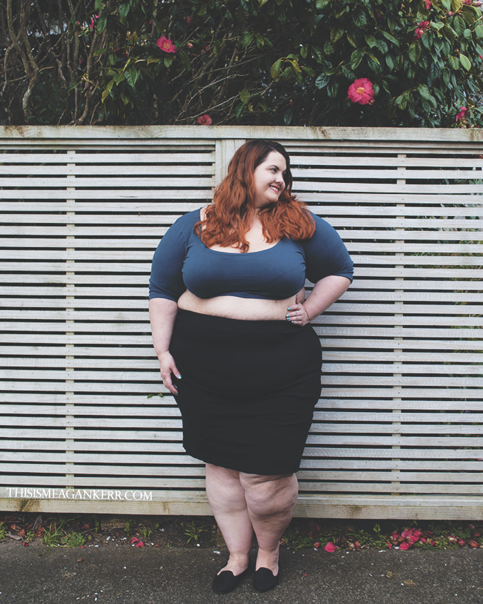 Aussie Curves Fears Exposed Plus Size Crop Top Chubby Cartwheels teal Lucabella pencil skirt fatshion style Meagan Kerr