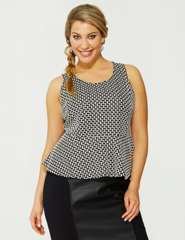 Wild Child City Textured Peplum Top plus size fashion monochrome farmers houndstooth print fatshion curvy clothing
