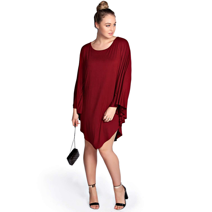 Boohoo Plus Alisha Oversized Cape Sleeve Longline Dress