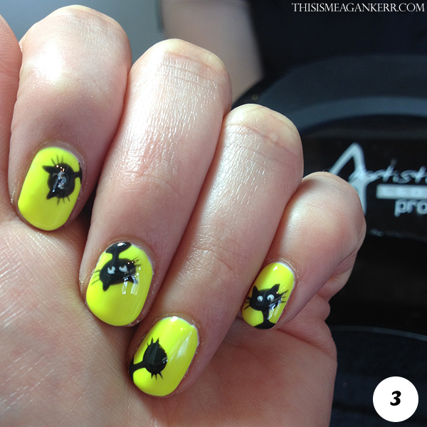 Black Cat Nail Art Tutorial for Halloween - Step 3