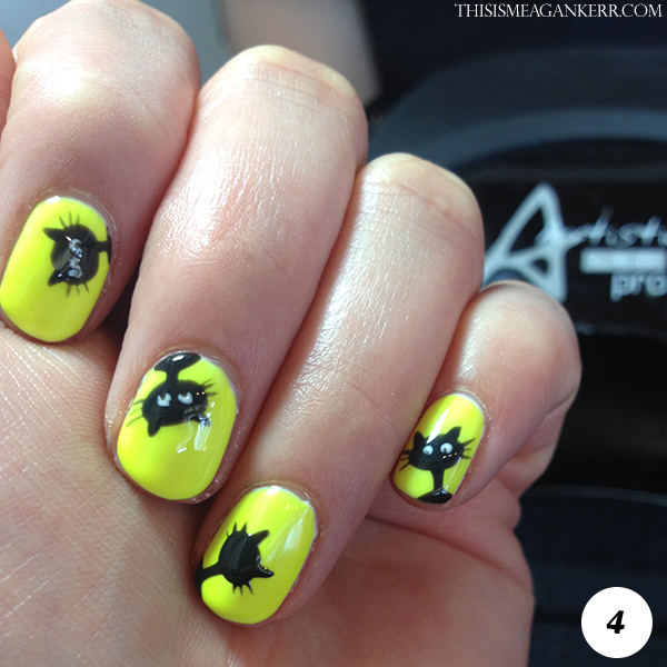 Black Cat Nail Art Tutorial for Halloween - Step 4
