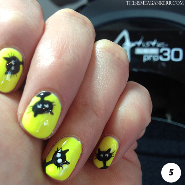 Black Cat Nail Art Tutorial for Halloween - Step 5