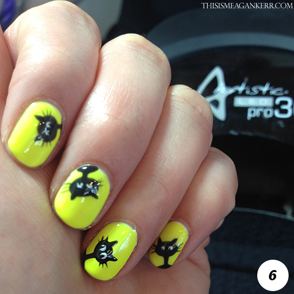 Black Cat Nail Art Tutorial for Halloween - Step 6
