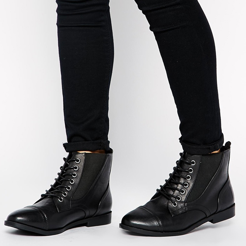ASOS New Look Wide Fit Captain Lace Up Ankle Boots