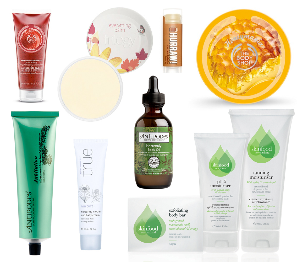 The Body Shop FROSTED CRANBERRY BODY POLISH; Trilogy Everything Balm; Hurraw Root Beer Lip Balm; The Body Shop HONEYMANIA™ BODY BUTTER; Skinfood Summer Skin Pack; Antipodes JUBILATION ULTRA NOURISHING HAND & BODY CREAM; True nurture mother and baby cream; Antipodes Heavenly Body Oil