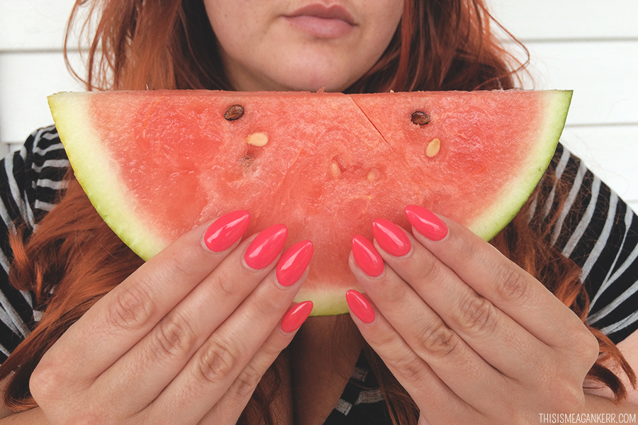 Watermelon Almond Nail
