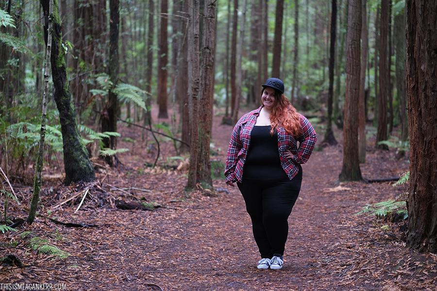 Flannel and Flat Caps - Crankworx Rotorua // Meagan Kerr wears Sara jeggings, ASOS Curve singlet, Kmart flannel check shirt, Hearsay sneakers, POC Sports cap