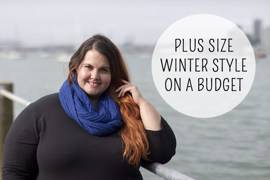 Plus size winter style on a budget: Meagan Kerr wears Debut Snood from The Warehouse