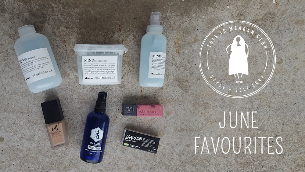 This is Meagan Kerr June Favourites: Davines Minu Shampoo, Conditioner and Hair Serum; e.l.f. Cosmetics Flawless Finish Foundation in Buff; Tailor Skincare Oil Cleanse; Karen Murrell Violet Mousse Lipstick; Lush Sparkle Toothy Tabs