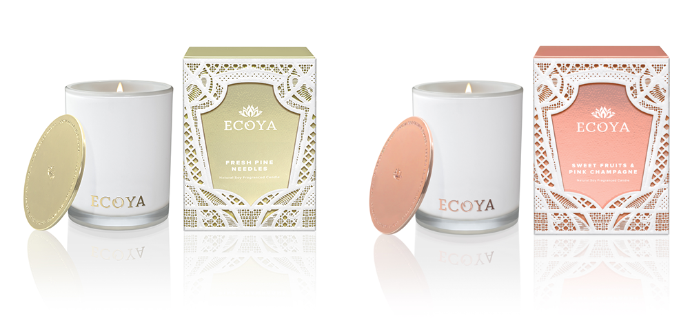 ECOYA Christmas Madison Candle in Fresh Pine Needles and Sweet Fruits & Pink Champagne