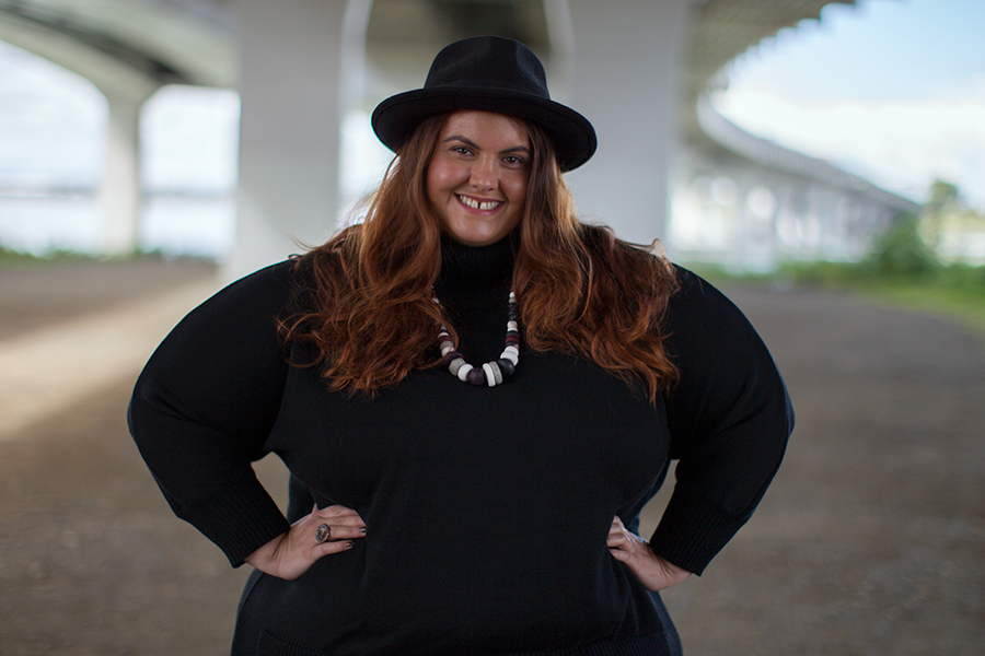 Meagan Kerr Plus Size Fashion // Navabi Review Isolde Roth Roll Neck Sweater