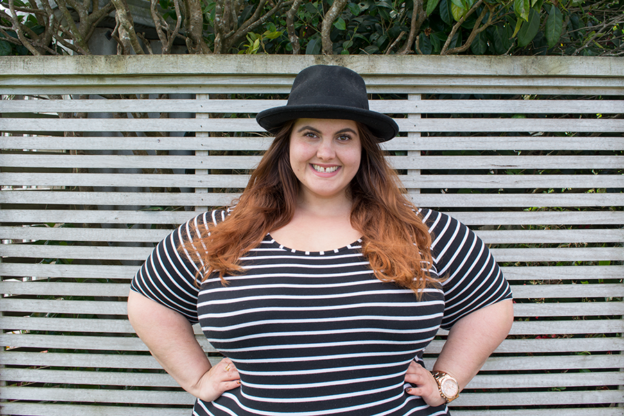 Can plus size women wear bodycon dresses? New Zealand NZ Style Curvettes // Meagan Kerr wears 17 Sundays striped bodycon dress