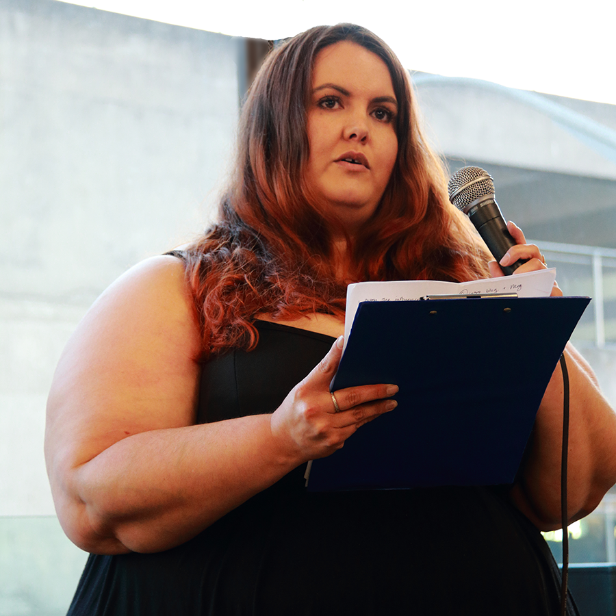 """""""Loving the body you have right now"""" Meagan Kerr speaking at Lovely Larger Ladies Fashion Event 2015. Photo by Emma Joyce"""