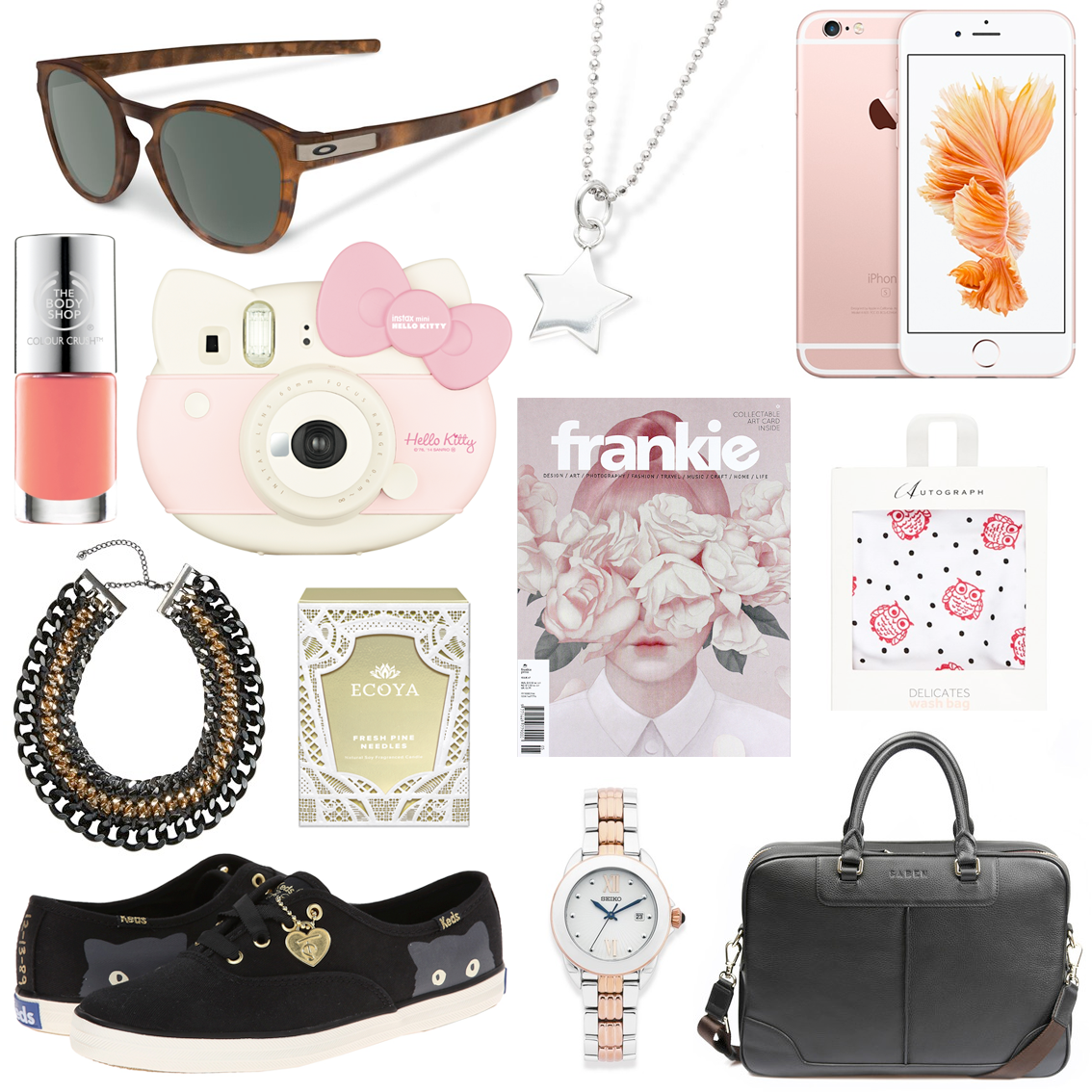 Gift ideas for fashionable babes // Oakley Latch Sunglasses $179.99 | Gala Darling Mystical Manifest Pendant Charm, $79.00 | Apple iPhone 6S, from $1199.00 | The Body Shop Colour Crush™ Nail Polish, $12.95 | Fujifilm Hello Kitty Instax Mini, $179.99 | City Chic Chain Rope Plait Necklace, $44.99 | ECOYA Fresh Pine Needles Madison Jar, $49.95 | Frankie Magazine | Autograph Owl Wash Bag, AUD $9.99 | Keds x Taylor Swift Sneaky Cat Shoes, $79.95 | Seiko Watch, $599.00 | Saben Briefcase, $489.00