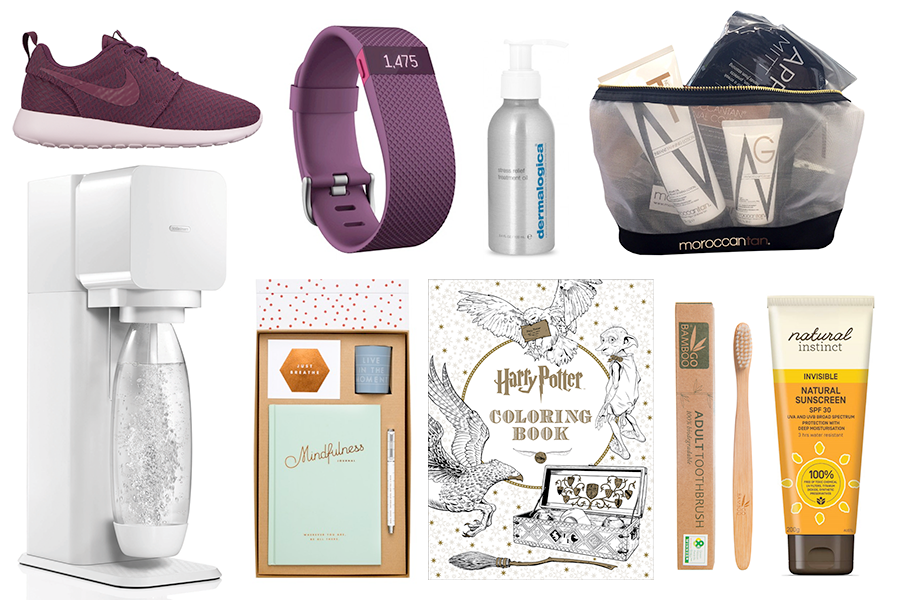 Gift Ideas: Health & Wellness // Nike Roshe One, AUD $119.95 | Fitbit Charge Heart Rate + Activity Wristband, $179.99 | Dermalogica Stress Relief Treatment Oil, $48.00 | Moroccan Tan Tanning Lotion Gift Set, $75.00 | Sodastream Play, $139.99 | Kikki.K Mindfulness Gift Set, $59.90 | Harry Potter Colouring Book, $27.99 | Go Bamboo Toothbrush, $4.50 | Natural Instinct Invisible Sunscreen SPF30, $15.95