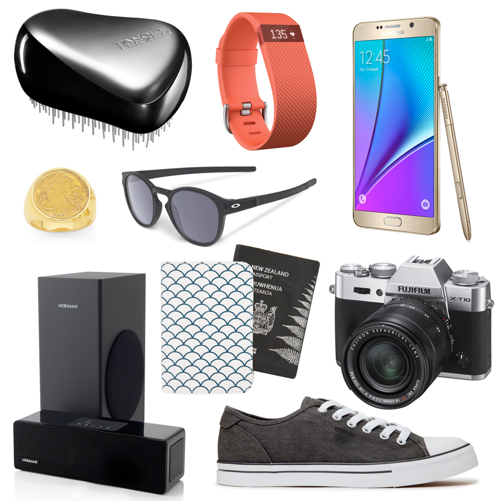 The Ultimate Christmas Gift Guide for Guys // Tangle Teezer Compact Groomer, RRP $34.00 | Fitbit Charge Heart Rate + Activity Wristband, $179.99 | Samsung GALAXY Note 5 32GB Smartphone, $1199.00 | Stewart Dawsons 9ct Gents Half Sovereign Ring, $1799.00 | Oakley Latch Sunglasses, $179.99 | Orbitsound M9 Compact Soundbar, $599.00 | Uniti Wanderlust Passport Cover, $7.99 | Deuce Brandon Dk Grey Denim Shoes, $89.90 | Fujifilm X-T10 +XF18-55mm Kit, $1770.00