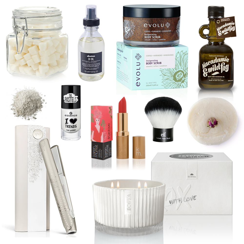 Gift Ideas: Pampering & Relaxing // Ethique Minute Manicure, $31.00 | Davines OI Oil, USD 42.00 | Evolu Duo Invigorating Body Scrub and Ultimate Goodness Body Butter, $54.99 | Matakana Botanicals Macadamia & Wild Fig Bath & Massage Oil, USD $32.00 | Lush First Snow Dusting Powder, $14.90 | Essence Nail Polish, $3.95 | Karen Murrell True Love Lipstick, $30.00 | Elf Kabuki Brush, $14.00 | Lush Amandopondo Bubble Bar, $8.90 | ghd V styler gift set, $310.00 | ECOYA Grand Celebration Candle in White Musk & Warm Vanilla, $99.95