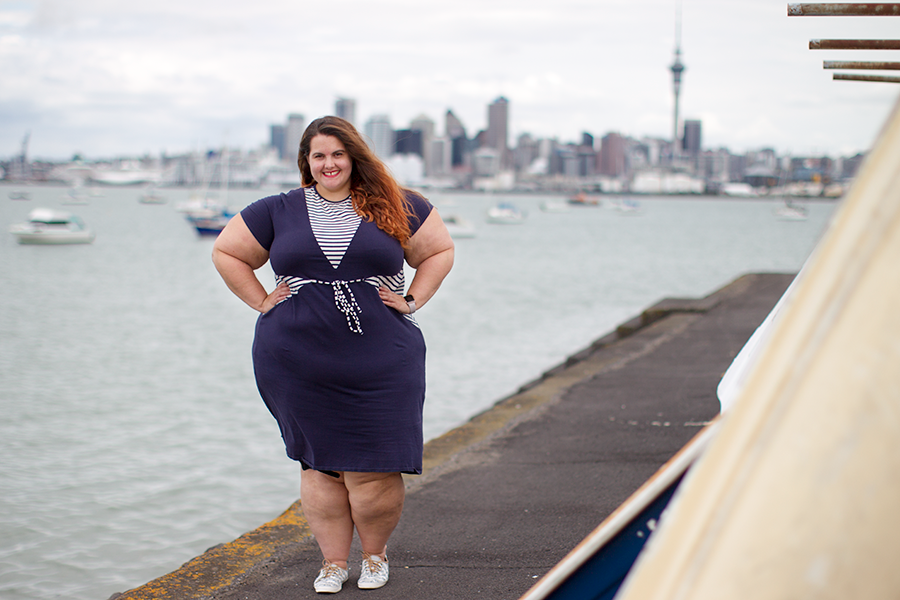 New Zealand plus size fashion blogger Meagan Kerr wears Hope and Harvest Nauticas Dress and Taylor Swift for Keds Anchor Stripe Sneakers