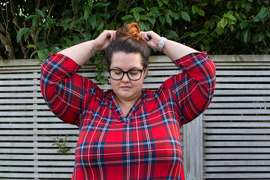 New Zealand plus size fashion blogger Meagan Kerr wears Society Plus Loey Lane plaid top