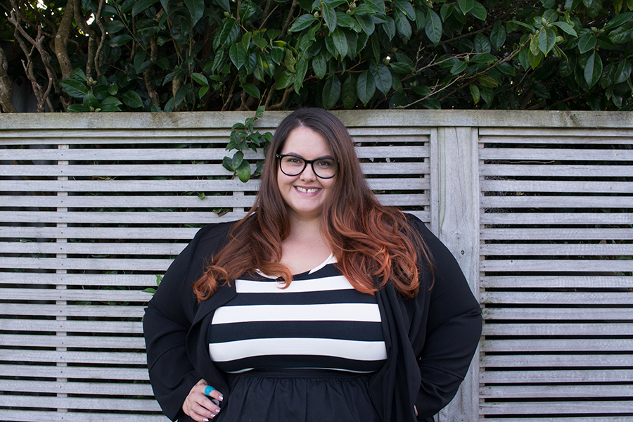 Job interview // New Zealand plus size fashion blogger Meagan Kerr wears Wild Child Urban Stripe Bodice Tea Dress from Farmers, New Look Trenchcoat from ASOS, Donatella's Tights and Black Croc Ocean Shoes from Ziera