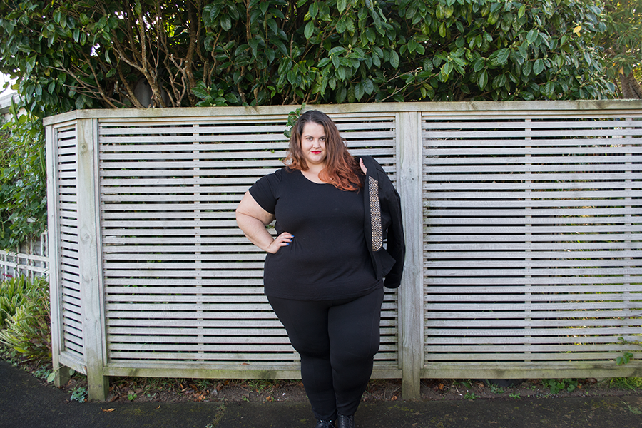 New Zealand plus size fashion blogger Meagan Kerr wears Wild Child City Fashion Ponte Pants, Wild Child Essential Short Sleeve Top and 17 Sundays Rewired Sequin Trim Jacket