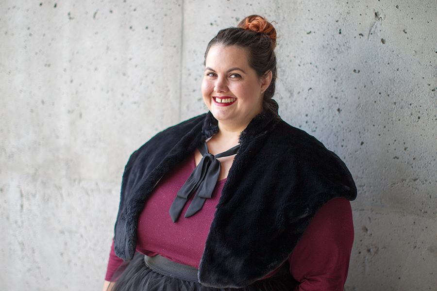 New Zealand plus size fashion blogger Meagan Kerr wears Kate Madison top from The Warehouse; Chocolat Dreamy Wrap; Premium Tutu from Society Plus; Jemma Hi Top Sneakers from Rubi Shoes