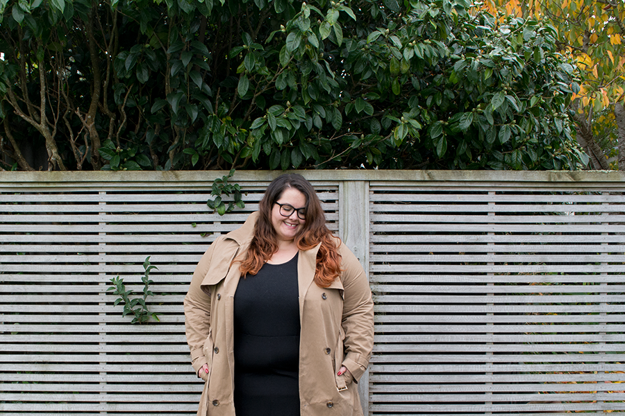 New Zealand plus size fashion blogger Meagan Kerr wrapped up in winter layers