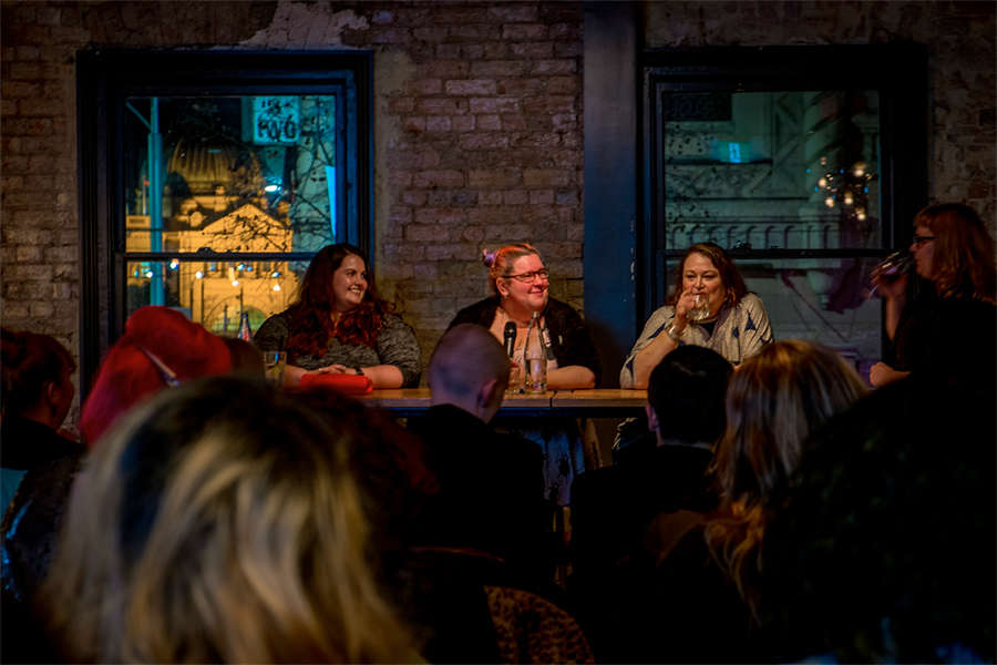 Fashion, Feminism and Fat Bodies panel at Melbourne Fashion Week Plus: Meagan Kerr, Kath Read and Sarah Harry. Photo by Suger Coat It