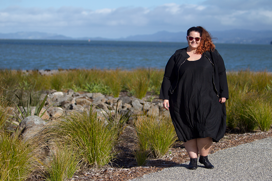 New Zealand plus size blogger Meagan Kerr wears Lost and Led Astray Tuck Hem Dress and City Chic Sweet Elastic Jacket