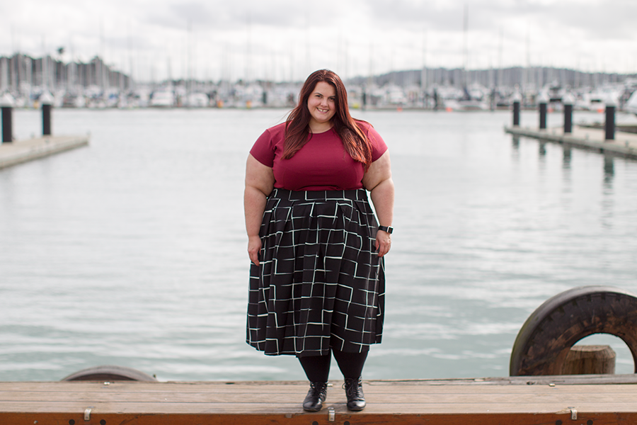 New Zealand plus size fashion blogger Meagan Kerr wears Perfect T and Kate Midington Skirt from Society+