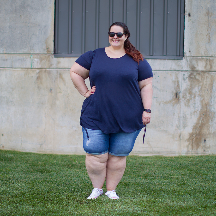 Plus size fashion blogger Meagan Kerr wears Kate Madison shorts from The Warehouse