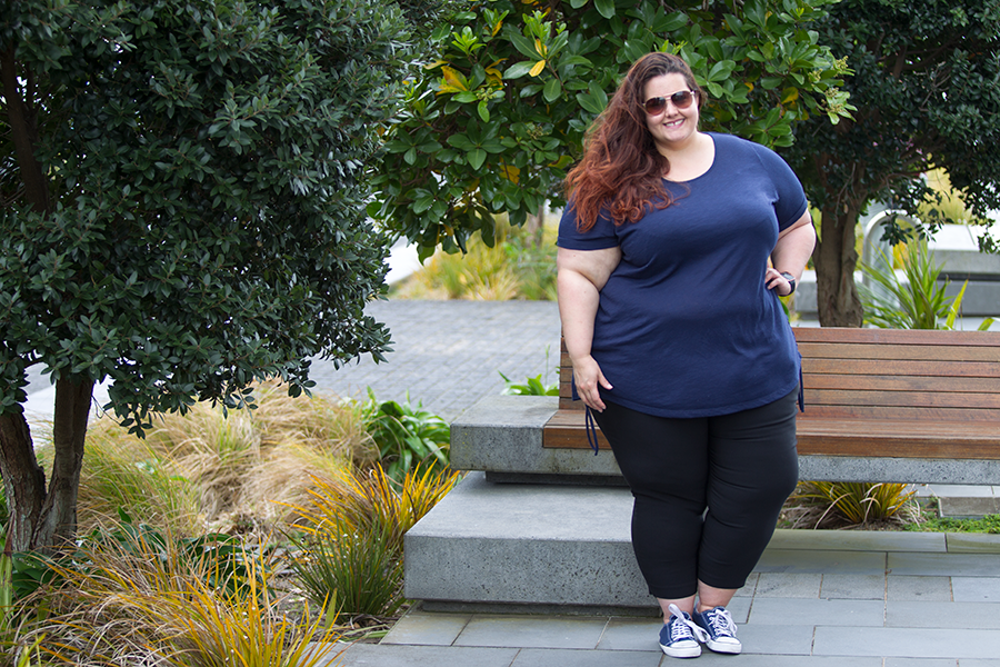 New Zealand plus size fashion blogger Meagan Kerr wears Kate Madison Lace Up Side Top and Cropped Bengaline Pants from The Warehouse