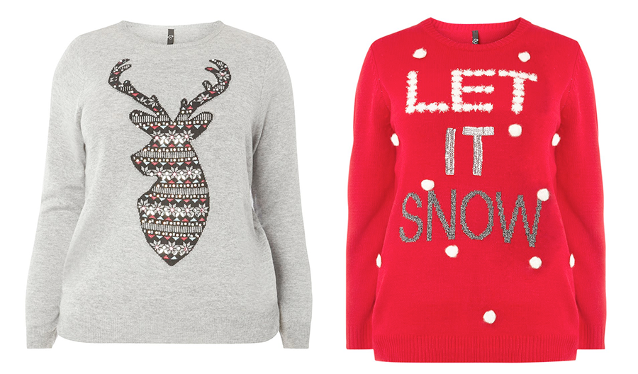 Plus size Christmas jumpers and tees: Evans Grey Reindeer Jumper and Evans Let it Snow Jumper
