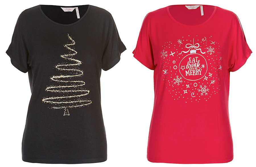 Plus size Christmas tshirts: Diamante Tree Split Sleeve Top and Be Merry Split Sleeve Top from Millers