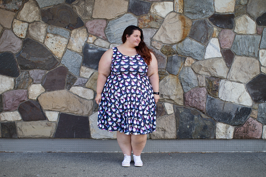 NZ plus size blogger Meagan Kerr wears Fat Unicorn Dress from Joolz Fashion
