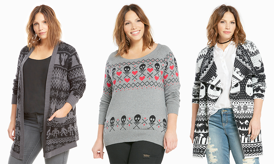 Plus size Christmas jumpers: Torrid Doctor Who Fair Isle Cardigan, Skull Fair Isle Sweater and Nightmare Before Christmas Fair Isle Cardigan