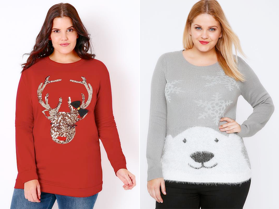 Plus size Christmas jumpers and tees: Red Sequin Reindeer Christmas Sweat Top and Polar Bear Knit Christmas Jumper