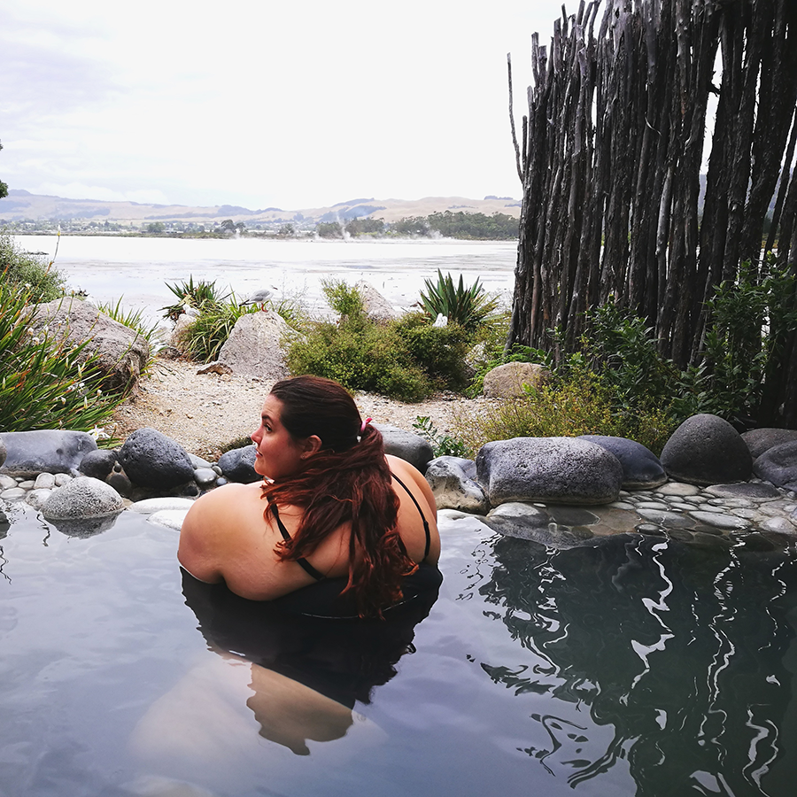 Meagan Kerr relaxing in a private pool at Polynesian Spa, Rotorua, New Zealand