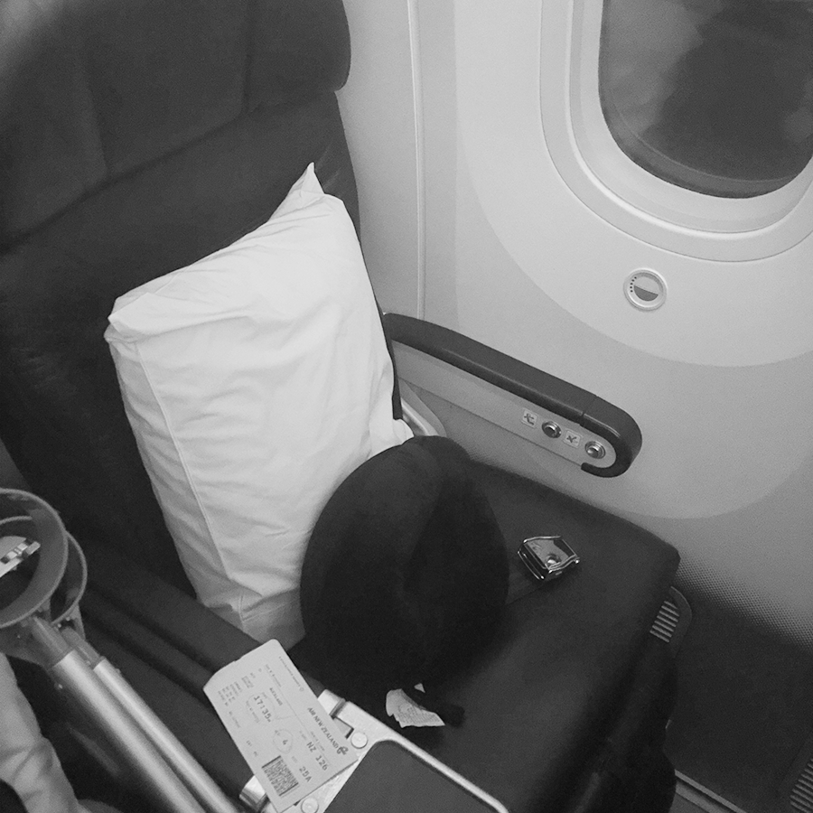 A Premium Economy seat on an Air New Zealand Boeing 787-9