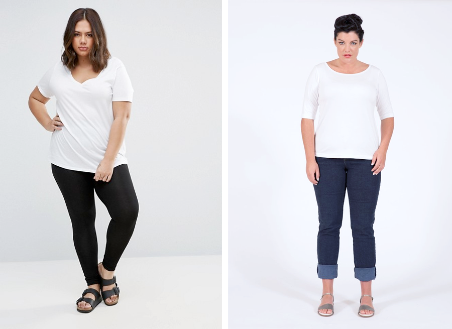 ASOS CURVE V Neck Tee AUD $16.00 and HALL Boat Tee $169.00